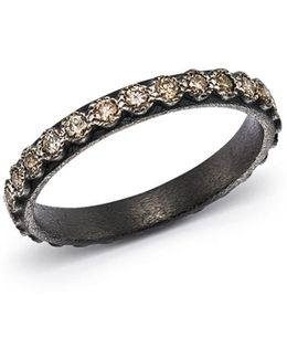 Blackened Sterling Silver Old World Diamond Stacking Ring