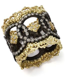 18k Yellow Gold And Blackened Sterling Silver Old World Champagne Diamond Scalloped Ring