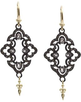18k Yellow Gold And Blackened Sterling Silver Old World Champagne Diamond And White Sapphire Scroll Drop Earrings
