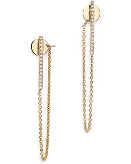 14k Yellow Gold Diamond Chain Ear Jackets