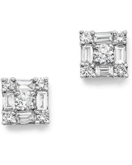 14k White Gold Diamond Mosaic Stud Earrings