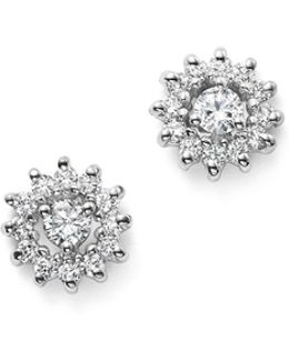 14k White Gold Diamond Sunburst Earrings