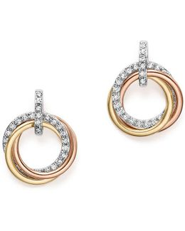 14k Gold Diamond Triple Circle Earrings