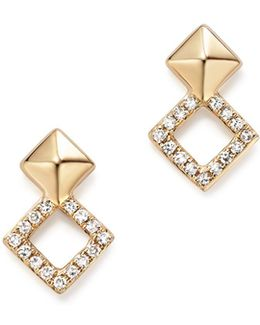 14k Yellow Gold Diamond Stacked Square Stud Earrings