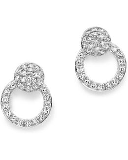 14k White Gold Diamond Mini Circle Earrings