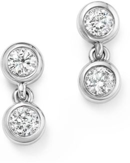 14k White Gold Diamond Double Bezel Earrings
