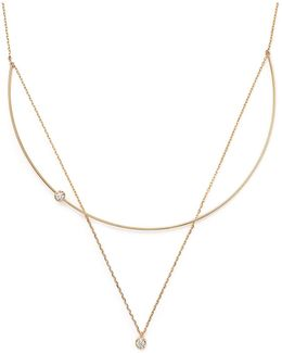 14k Yellow Gold Diamond Bezel Pendant Collar Necklace