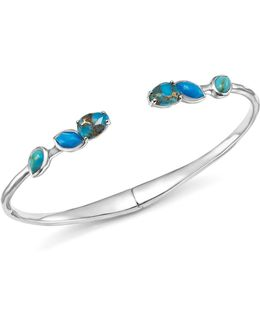 Sterling Silver Rock Candy® Mixed Turquoise And Amazonite Doublet Hinged Bangle