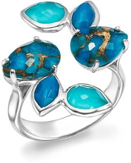 Sterling Silver Rock Candy® Mixed Turquoise And Doublet Bypass Ring