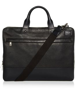 Pebbled Leather Slim Briefcase