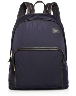Nylon Leather Detail Backpack