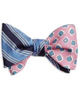Double-sided Stripe/flower Self-tie Bow Tie