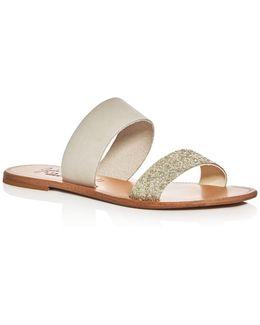 Sable Glitter Slide Sandals