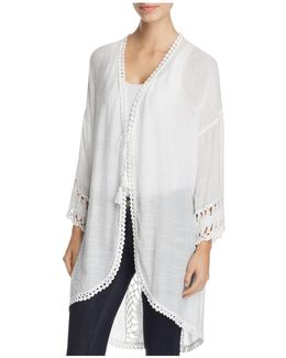 Miley Lightweight Crochet Trim Jacket