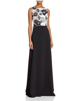 Infusion Floral Embroidered Lace-top Gown