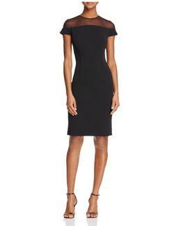 Infusion Short-sleeve Illusion-neck Dress
