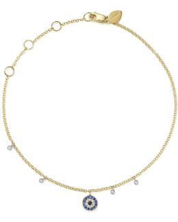 14k White And Yellow Gold Sapphire And Diamond Evil Eye Ankle Bracelet