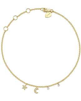 14k White And Yellow Gold Diamond Moon And Star Ankle Bracelet