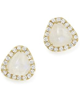 14k Yellow Gold Rainbow Moonstone And Diamond Stud Earrings