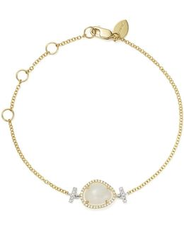 14k White And Yellow Gold Rainbow Moonstone And Diamond Bracelet