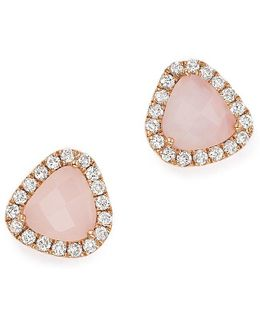 14k Rose Gold Pink Opal And Diamond Stud Earrings