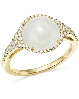 14k Yellow Gold Rainbow Moonstone And Diamond Ring