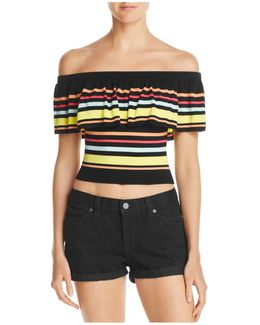 Amina Off-the-shoulder Striped Top