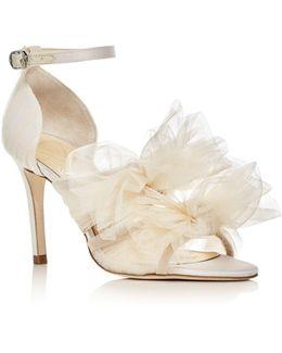 Gigi Tulle Bow Satin High Heel Sandals