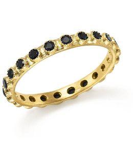 18k Yellow Gold Sueno Black Sapphire Stacking Ring