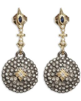 18k Yellow Gold And Blackened Sterling Silver Old World Sapphire And Diamond Shield Earrings
