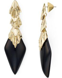 Crystal Studded Pleated Drop Earrings