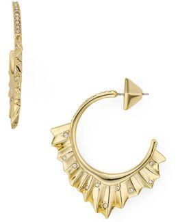 Crystal Encrusted Pleated Hoop Earrings
