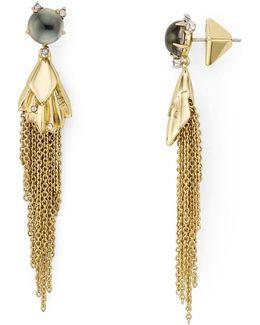Pleated Chain Tassel Drop Earrings
