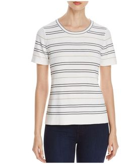Shimmer Stripe Short Sleeve Sweater