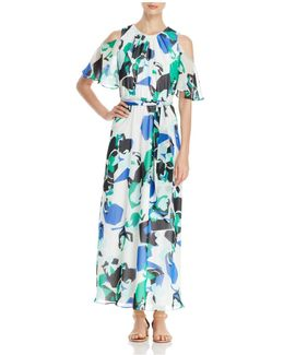 Abstract Print Cold Shoulder Maxi Dress