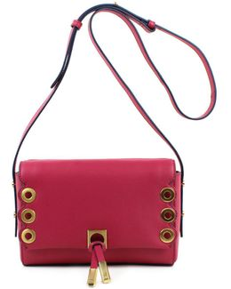 Claudia Double Flap Grommet Leather Crossbody