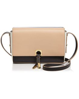 Claudia Double Flap Color Block Leather Crossbody
