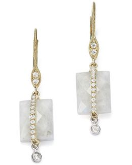 14k White And Yellow Gold Rainbow Moonstone And Diamond Square Drop Earrings