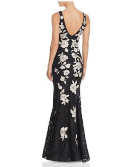 Embroidered-back Lace Gown