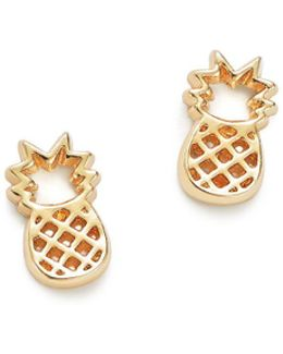 14k Yellow Gold Pineapple Stud Earrings