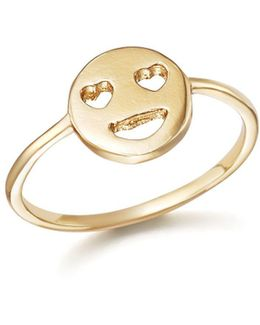 14k Yellow Gold Heart Eyes Emoji Ring