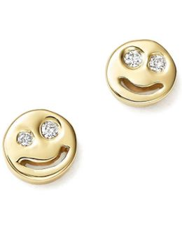 14k Yellow Gold Diamond Smiley Face Stud Earrings