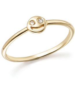 14k Yellow Gold Diamond Smiley Face Ring
