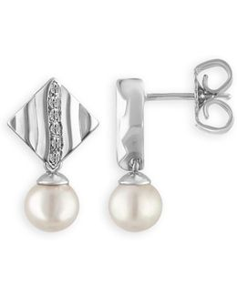 Simulated Pearl Drop Stud Earrings