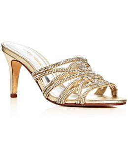 Impulse Metallic Embellished High Heel Slide Sandals