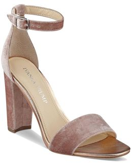Emalyn Velvet Ankle Strap Block Heel Sandals