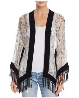 Fringe-trimmed Silk Kimono