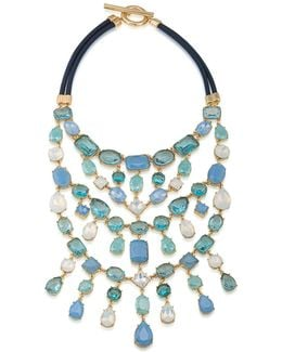 Gold-tone Multi-stone And Satin Cord Statement Necklace
