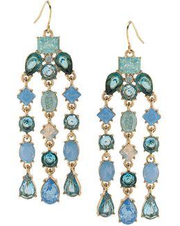 Gold-tone Blue Stone Chandelier Earrings