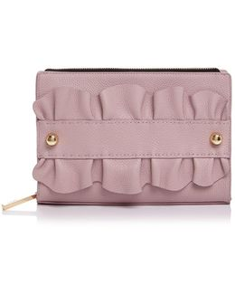 Ruffle Top Zip Leather Clutch